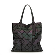 Fashion Famous Brands Women BaoBao Bag Geometry Sequins Mirror Plain Folding Bags Luminous Handbags PVC Casual Tote sg37