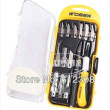 14pc Multifunctional Hobby Card Knife Tool Blade Kit Set with case for Cutting Wood Working Crafts Art  RT-M114 Sharp Tip