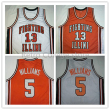 #5 DERON WILLIAMS #13 Kendall GILL FIGHTING ILLINI High School Basketball Jersey Orange White Men's custom any sizes,all name