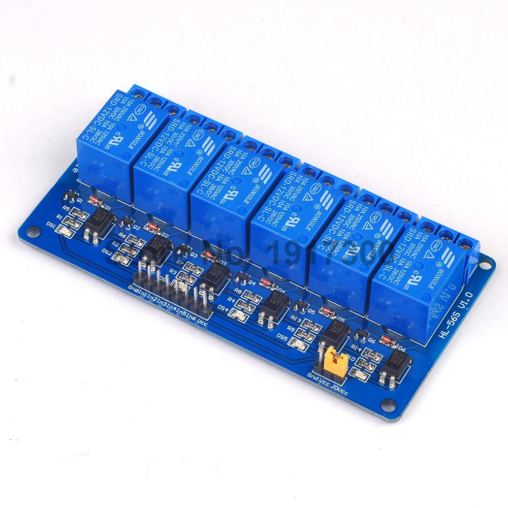 5PCS New 6 Channel Relay Module Relay Expansion Board 12v Low Level Triggered 6 Way Relay Module For Arduino<br><br>Aliexpress