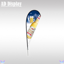 350cm Chrome Spike Base Outdoor Promotional Display Stand Beach Flying Flag Teardrop Banner With Double Side Full Color Printing