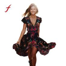 Buy 2018 Women Dress Vintage Print Loose Long Beach Formal Sexy Dress V Neck Vestidos Verano Elegant Sexy Summer Elegant Dresses for $9.55 in AliExpress store