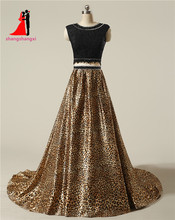 New Two Piece Long Prom Dresses Leopard grain 2 Piece Evening Prom Gowns Crystal Beads Wedding Party Gown(China)