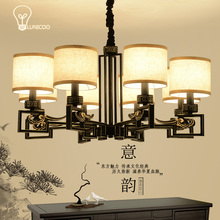 LINUCOO  pendant lights iron living  senior hotel retro home lighting Linen lampshade 6/8/10 heads E14 pendant lamps