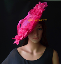 NEW Hot pink fuchsia Large sinamay hat saucer fascinator Silk flower fascinator for races,wedding,church,party.(China)