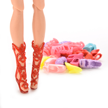 12 Pairs =24 Pcs Lovely Dolls Shoes Bangdage High Heels Sandals For  Barbie Dolls Accessories Color Random