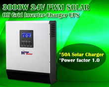 3000w 24v 230vac solar inverter charger + 50A solar charger + battery charger + generator stater(Taiwan)