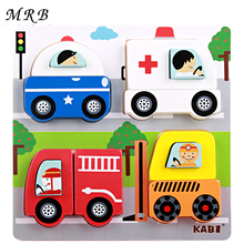Wooden 3D Puzzles Kids Toys Cartoon animal traffic education jigsaw Puzzle Montessori Size 18 *18 * 2.5cm toy for children(China)