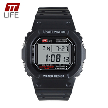 TTLIFE TS13 Watch Men Rectangle Military Army Fashion Waterproof Sports Watch Rubber LED Digital Men Sports Watches for Running(China)