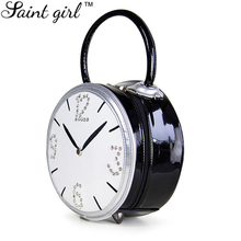 Saint Girl Brand Women Totes Handbag New Fashion Fancy Clock Handbag Zipper PU Leather Shoulder Bag SNS013