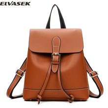 Elvasek 2017 women backpacks fashion pu leather bags school backpack for teenage travel bags girls shopping backpack casual