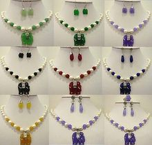 NEW jewelry choker women's natural 9 color-white pearl& green/purple/red/yellow gem elephant pendant necklace set