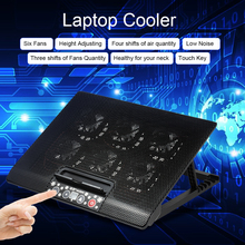 NUOXI 12-17 inch Laptop cooling pad Laptop Cooler USB Fan Cooler With 6 Cooling Fans Light Stand Adjusting Blue LED for Laptop