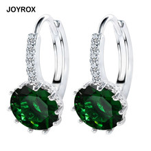 JOYROX 2017 NEW Charm&vintage Silver Zircon Drop Earring For Women Fashion Green Pink Purple Wedding Jewelry Earring