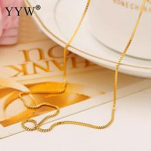 Fashion 24k Gold-Color Necklace Chain For Women Box Chain Gold Filled Chain Necklace Jewelry Party Daily Wear Jewelry Gift
