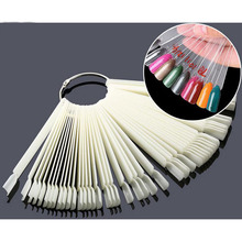 50 Pcs False Nail Art Board Tip Stick Polish Gel Foldable Display Beauty Practice Fan Clear Natural