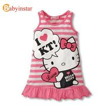 Size 80-120 New 2016 Kids Girls Clothes Hello Kitty Cute Cartoon Dress Red And Pink Nice Clothes, Lovely Baby Girls Dresses