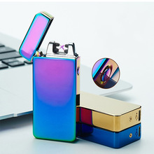 2017 HOT Electronic USB Dual Arc lighter Metal Flameless Rechargeable Windproof Lighter Electronic Cigarette lighters