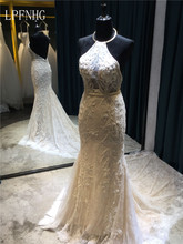 Lace Mermaid Wedding Dresses 2017 Halter Sleeveless Backless Court Train Applique and Lace Bridal Dresses Vestido De Noiva