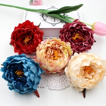 1pcs 11cm Big Silk Artificial peony flower head wedding decoration DIY home decoration craft bonsai artificial flowers(China)