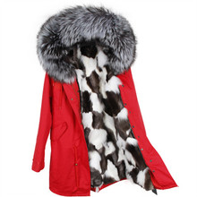 winter jacket brand style silver army green Large  raccoon fur collar coat parkas outwear long detachable fox fur lining Hooded