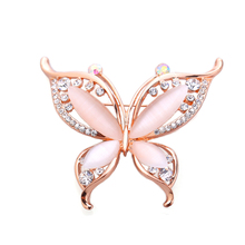 OneckOha Fashion Opal Stone Butterfly Brooches Rhinestone Animal Brooch Pin Rose Gold Jewelry Birthday Gift(China)