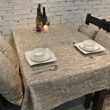 High Quality Vintage Alphabet Linen Cotton Tablecloth Europe Style Dust Proof Table Cover Lace Table Cloth For Home Hotel