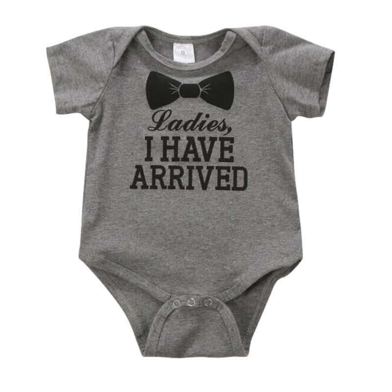 Baby Newborn Cotton Letter Print Romper Short Sleeve Jumpsuit Bodysuit Ches