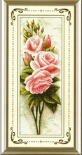 FREE delivery Top Quality Hot Selling Lovely Counted Cross Stitch Kit Pink Roses Rose Flower Flowers