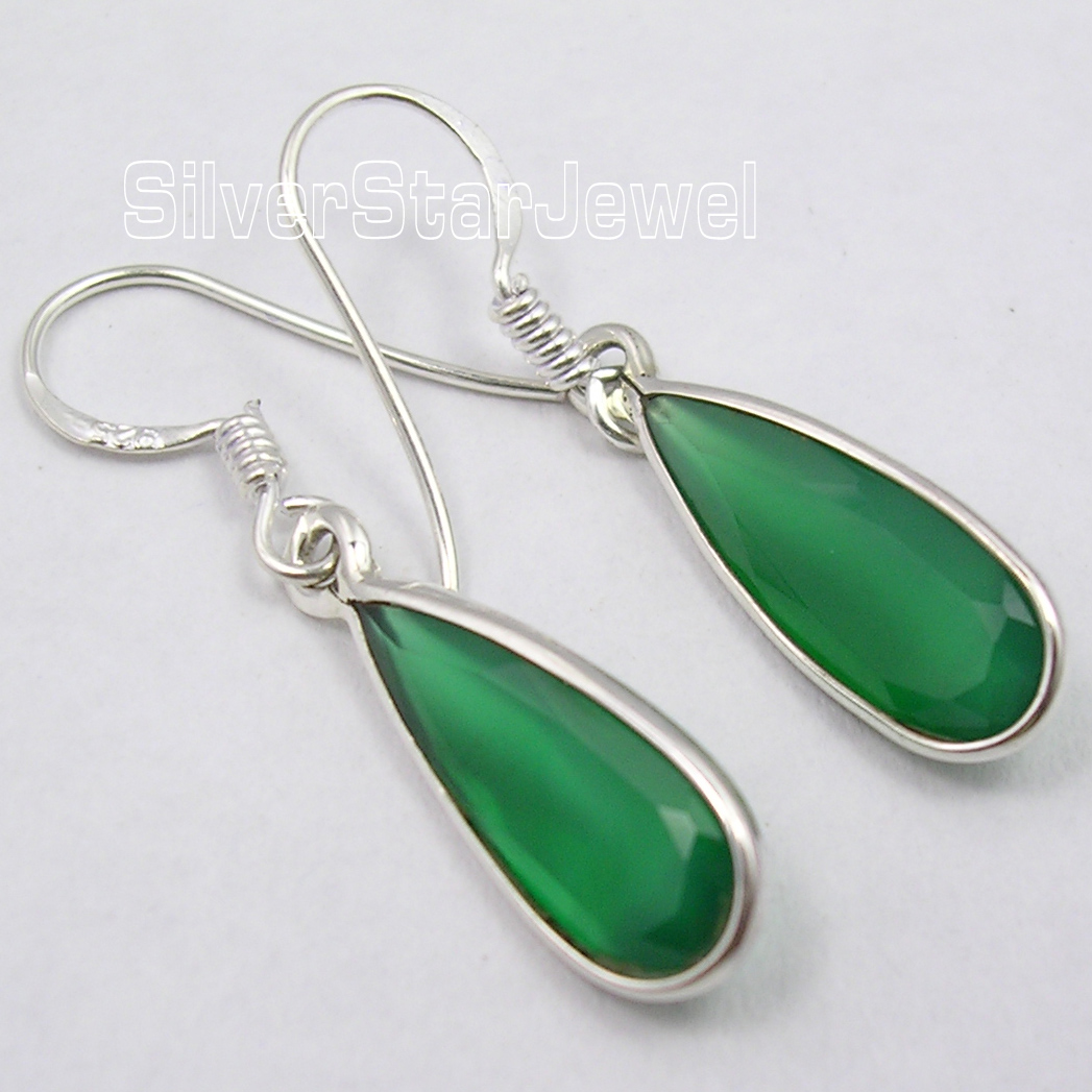 Solid Silver Green Onyx Long Drop Pretty Earrings 36 Cm Indian  Jewellers(china (mainland