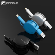 Cafele 2 in 1 Retractable USB Cable for iPhone 5 6 7 and Micro USB Device Fast Charging USB Cable for Samsung Xiaomi Huawei