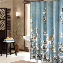 Uphome Beautiful White Cherry Blossom Bathroom Shower Curtain - Blue Waterproof Polyester Fabric Decorative Bath Curtain Designs(China)