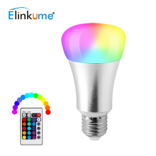 Elinkume Powerful E27 10W LED Colorful Light Bulb AC85-265V Dimmable Remote Control LED Spotlight Smart Milight RGB Color Lamp