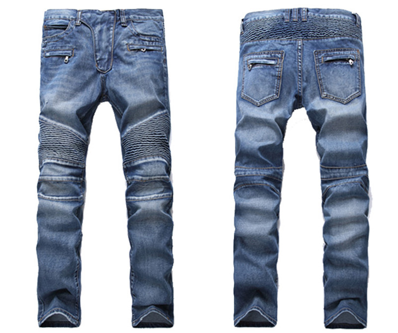 Men's Fashion Brand Designer Ripped Biker Jeans Men Distressed Moto Denim Joggers Washed Pleated Jean Pants Black Blue 8