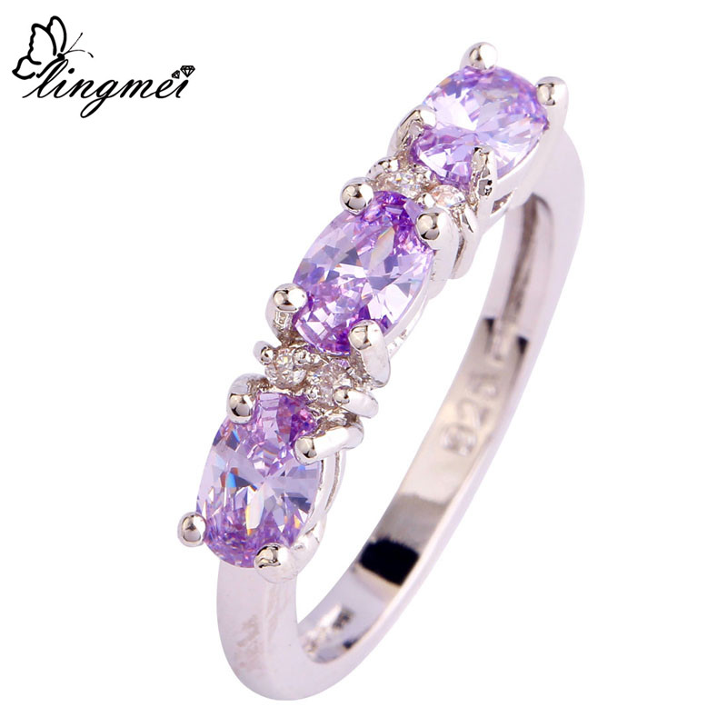 lingmei Wholesale Elegant Oval Cut Tourmaline White CZ Silver Color Ring Size 6 7 8 9 10 11 12 Women Jewelry Gift Free