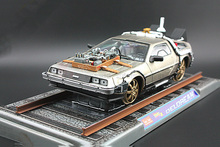 With rail Base car model 1/18 Scale diecast Alloy Car Toy back to future 2 delorean DMC-12 scifi model car kids toys child gift(China)