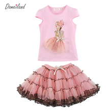 2017 fashion domeiland summer children clothing Princess  girls pink outfits sets ruffle tops short layer lace tutu skirt suits