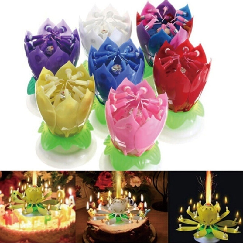 3 Pack Magic Lotus Flower Candle Birthday Blossom Musical Rotating Party Decor