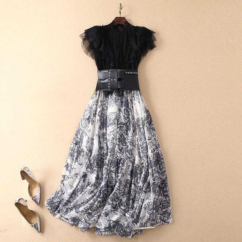 two-piece women's elegant suits transparent black lace patchwork print rockabilly vintage dress exaggerated leather belt dress