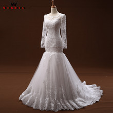 Buy Elegant Wedding Dresses Mermaid Long Sleeve Lace Tulle Sexy Long Formal Wedding Gowns 2018 New Vestido De Noiva Custom Size WD55 for $216.82 in AliExpress store