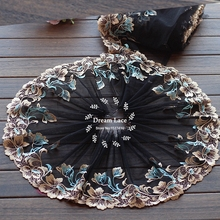2 Yards Lace Trim Black + gold and blue Embroidered flowers Tulle Lace 8.67 Inches Wide High Quality(China)