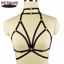 Womens Sexy Bondage Body Harness Lingerie Goth Witchy Funny Exotic Cage Bralette Black Tops Fetish Halloween Wear Garter Belt