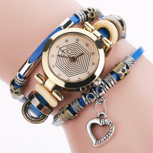 Buy Women Bracelet Watches Multilayer PU Leather Strap Quartz Watch Love Heart Pendant Casual Wristwatches Gift LXH for $4.09 in AliExpress store
