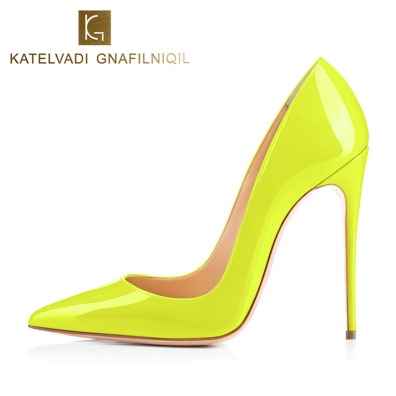 Big Size 34-43 Yellow Autumn Shoes Women Yellow Pumps Sexy 12CM High Heels Shoes Woman Patent Leather Sexy Party Shoes K-051<br>