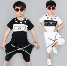 2017 new summer style fashion glasses star Baby boys brand t-shirts & shorts boy sports clothes hip hop suits Kids clothing sets