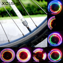 2pc 5 LED 8 Flash Light Mountain Bike Bicycle Motorcycle Tyre Tire Wheel Valve Cap Spoke Lamp Colorful Light Bicycle Accessories(China)