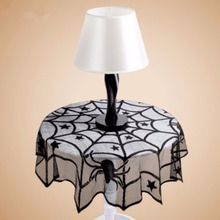 Two Sizes Halloween Lace Spider Round Web Tablecloth Fireplace Table Decoration Props Black New(China)