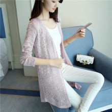 models Diaojia new spring and summer in the long hole thin sweater slim dress cardigan sunscreen clothing F1696