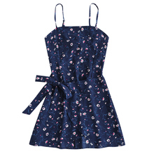 Gamiss 2018 Women Dress Bowknot Cut Out Tiered Mini Dress Girls Clothing Summer Beach Dresses Spaghetti Strap Hollow Out Robe(China)