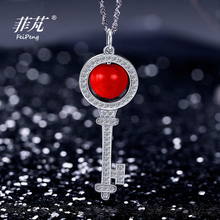 Chinese Characteristic  Silver Key Necklace Platimum Plated  with Red Adzuki Bean, Cubic Zirconia Crystal Stone &Jewelry Box